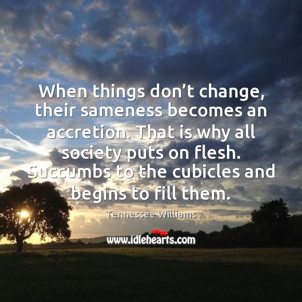 When things don't change, their sameness becomes an accretion. That is Tennessee Williams Picture Quote