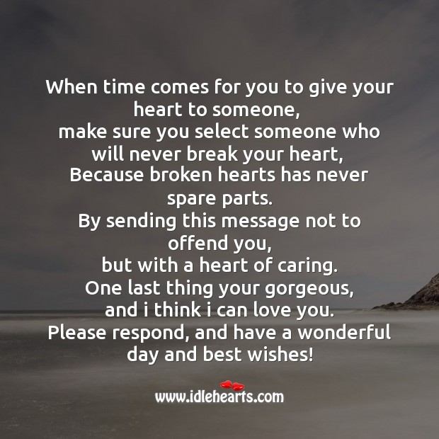 When time comes for you to give your heart to someone SMS Wishes Image