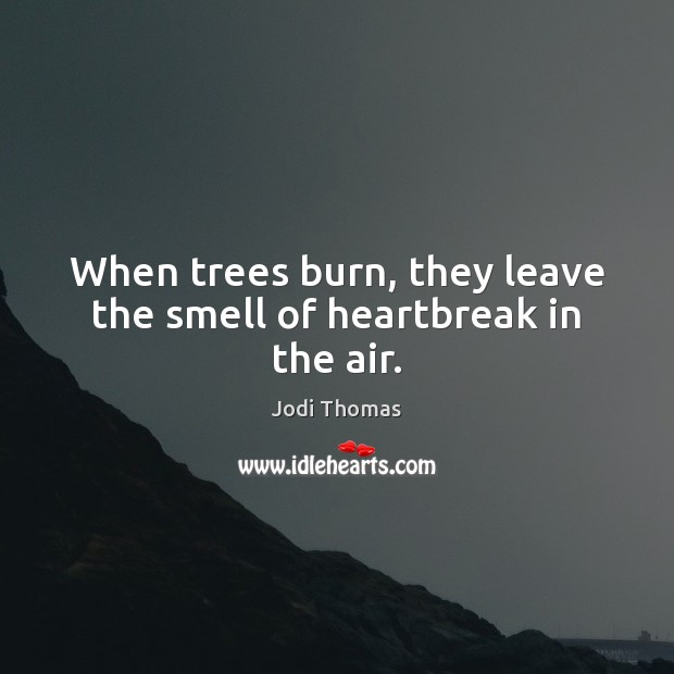Image, When trees burn, they leave the smell of heartbreak in the air.