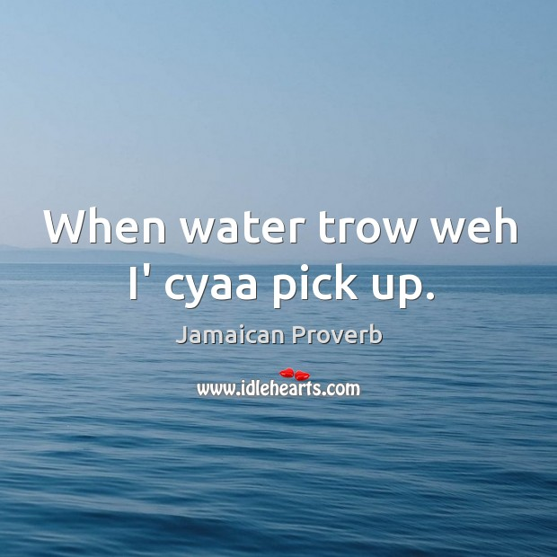 When water trow weh i' cyaa pick up. Jamaican Proverbs Image