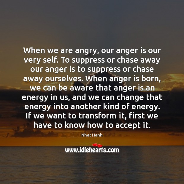 Image, When we are angry, our anger is our very self. To suppress