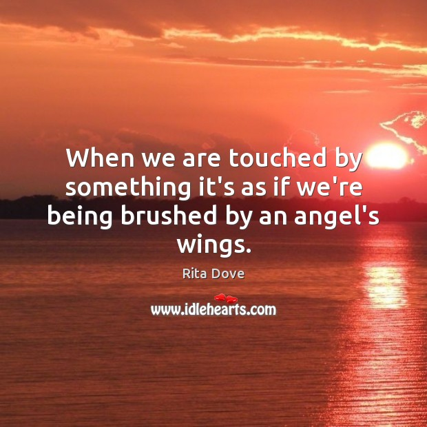 When we are touched by something it's as if we're being brushed by an angel's wings. Rita Dove Picture Quote