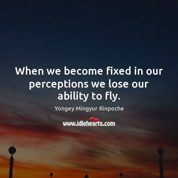 When we become fixed in our perceptions we lose our ability to fly. Yongey Mingyur Rinpoche Picture Quote