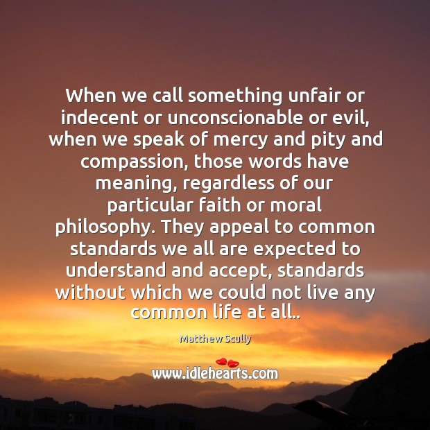 When we call something unfair or indecent or unconscionable or evil, when Matthew Scully Picture Quote
