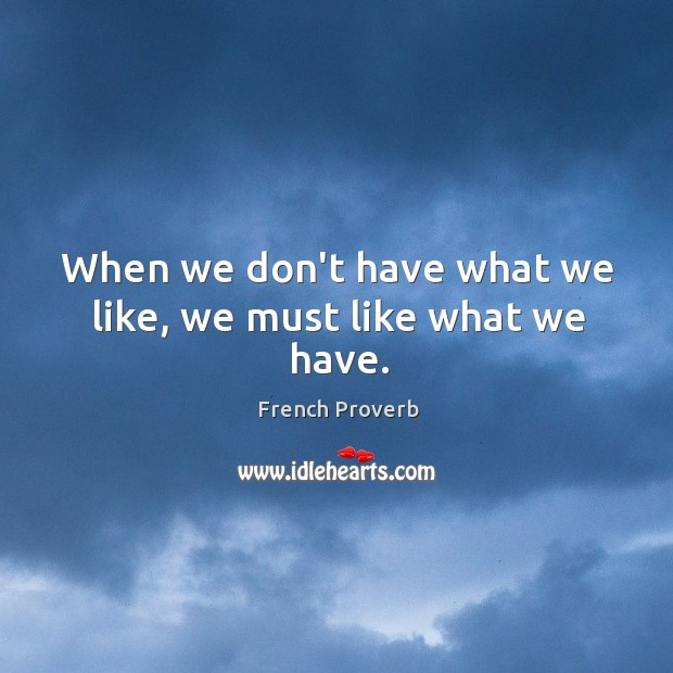 Image, When we don't have what we like, we must like what we have.