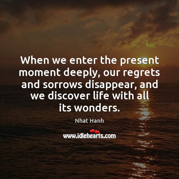 Image, When we enter the present moment deeply, our regrets and sorrows disappear,