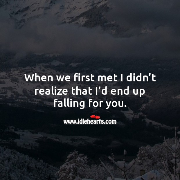 When we first met I didn't realize that I'd end up falling for you. Realize Quotes Image