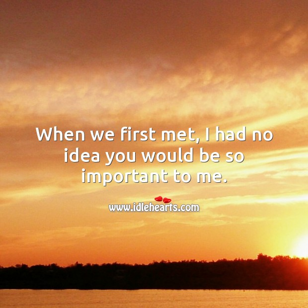 Image, When we first met, I had no idea you would be so important to me.