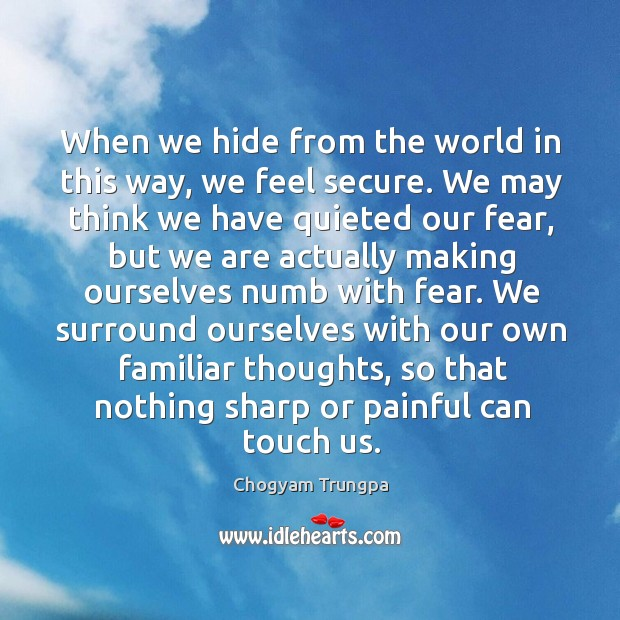 Image, When we hide from the world in this way, we feel secure.