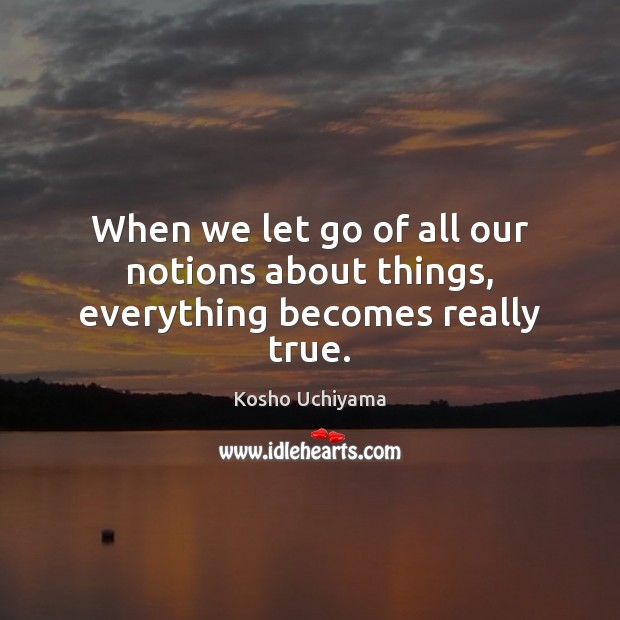 When we let go of all our notions about things, everything becomes really true. Image