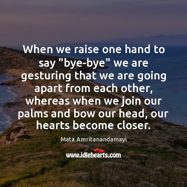"""When we raise one hand to say """"bye-bye"""" we are gesturing that Image"""