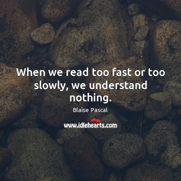 Image, When we read too fast or too slowly, we understand nothing.