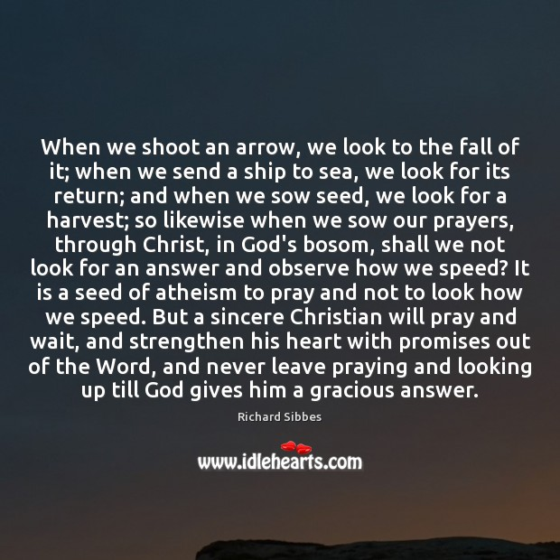 When we shoot an arrow, we look to the fall of it; God Quotes Image