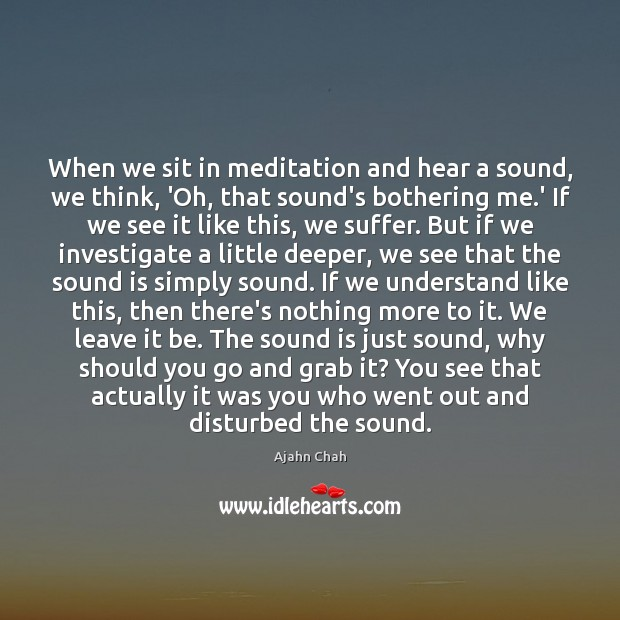 When we sit in meditation and hear a sound, we think, 'Oh, Image