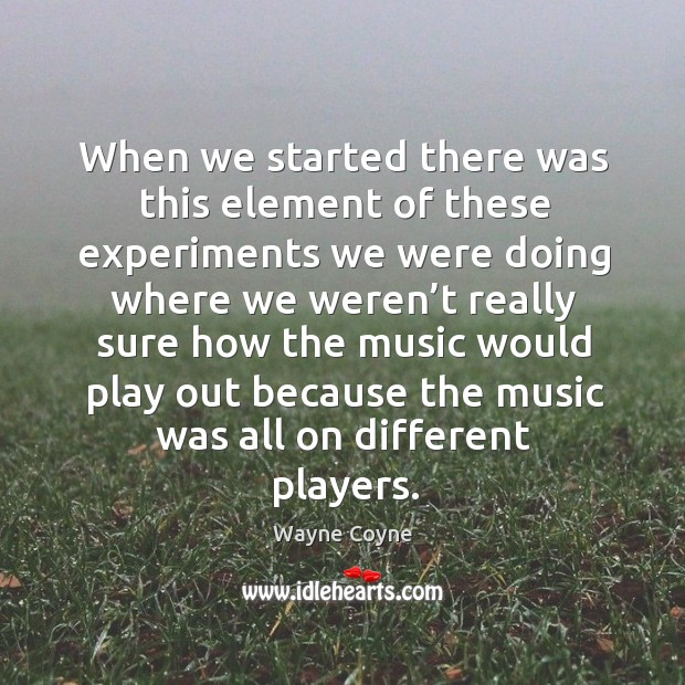 When we started there was this element of these experiments we were doing where we Wayne Coyne Picture Quote