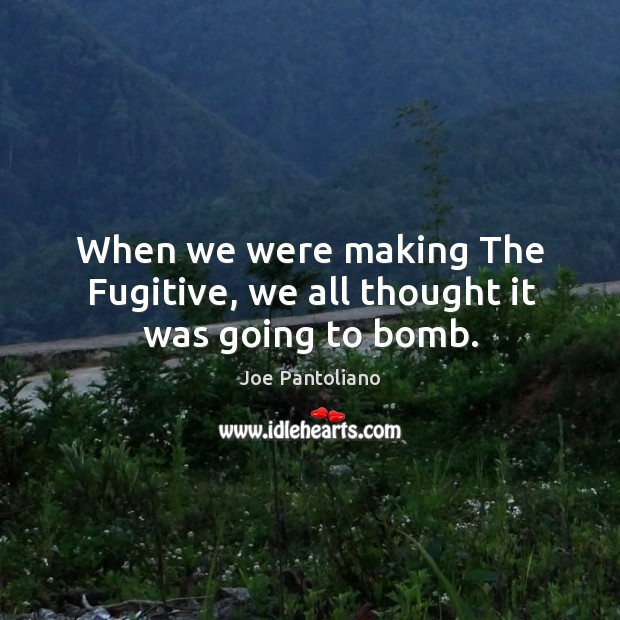 When we were making the fugitive, we all thought it was going to bomb. Image