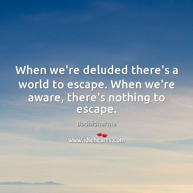 When we're deluded there's a world to escape. When we're aware, there's nothing to escape. Bodhidharma Picture Quote