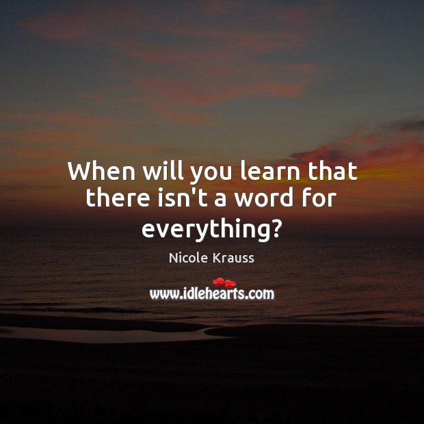 When will you learn that there isn't a word for everything? Nicole Krauss Picture Quote