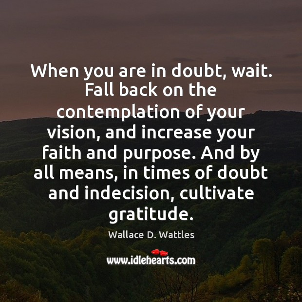 When you are in doubt, wait. Fall back on the contemplation of Image