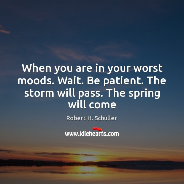 When you are in your worst moods. Wait. Be patient. The storm Robert H. Schuller Picture Quote