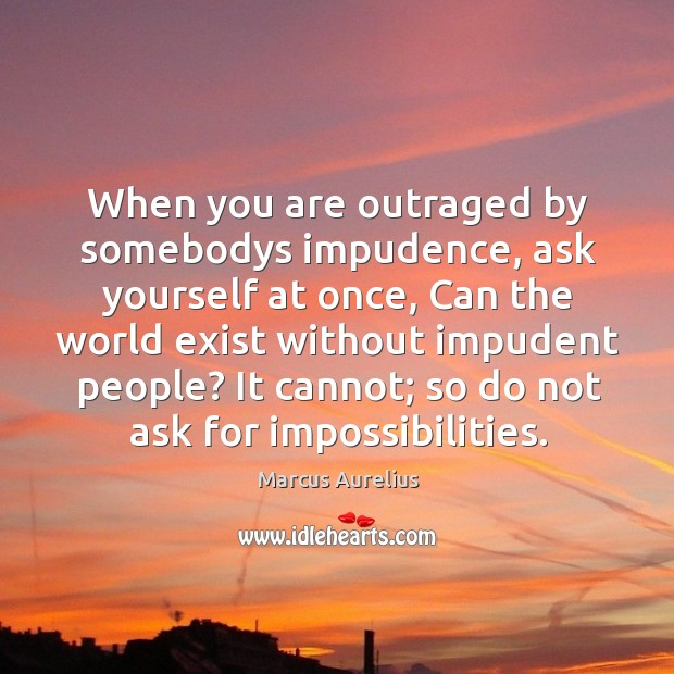 When you are outraged by somebodys impudence, ask yourself at once, can the world exist without impudent people? Image