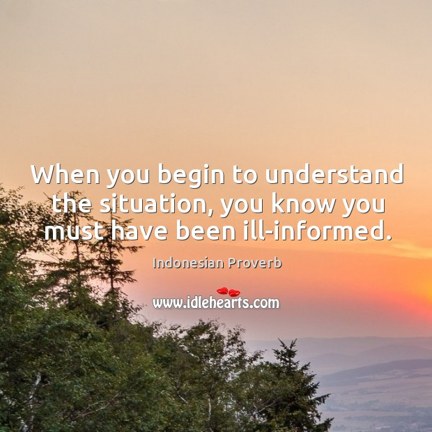 When you begin to understand the situation, you know you must have been ill-informed. Indonesian Proverbs Image