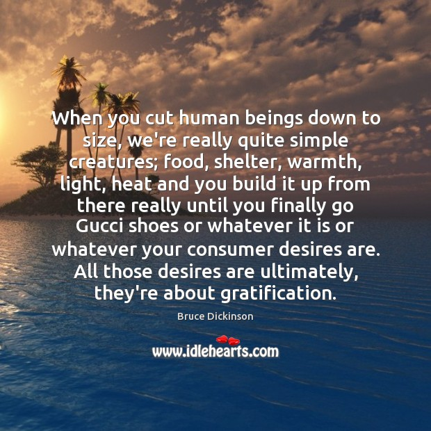 When you cut human beings down to size, we're really quite simple Bruce Dickinson Picture Quote