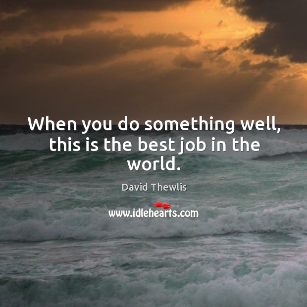 When you do something well, this is the best job in the world. David Thewlis Picture Quote