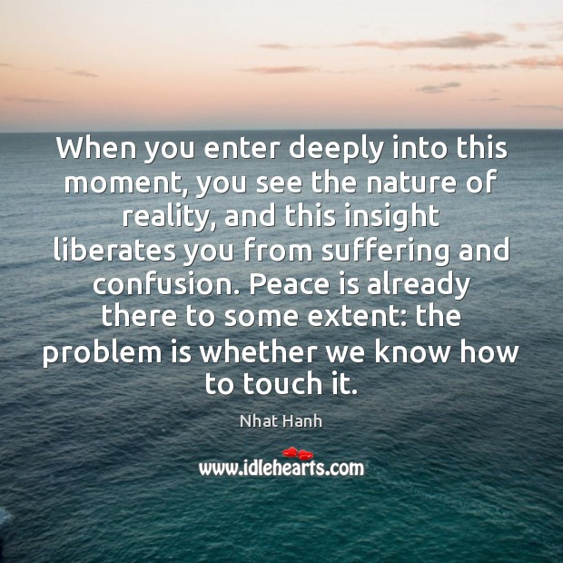 When you enter deeply into this moment, you see the nature of Peace Quotes Image