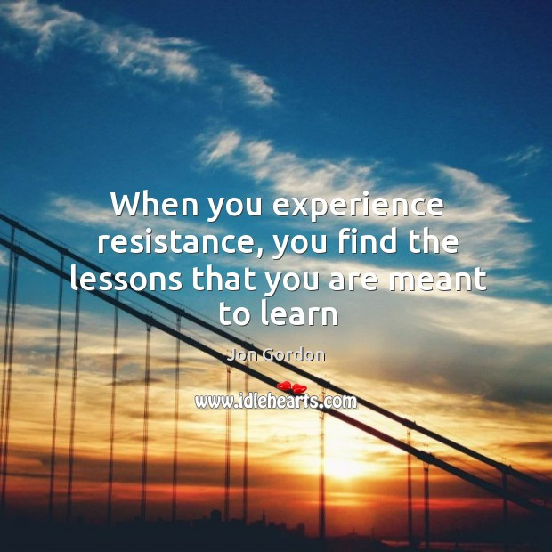 When you experience resistance, you find the lessons that you are meant to learn Jon Gordon Picture Quote