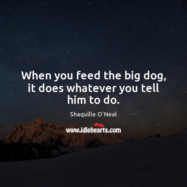 When you feed the big dog, it does whatever you tell him to do. Image