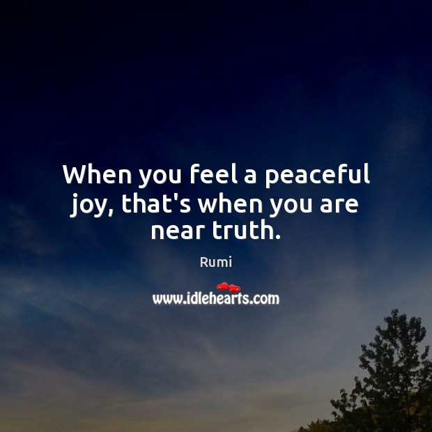 When you feel a peaceful joy, that's when you are near truth. Image