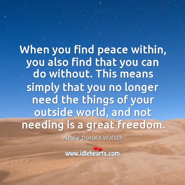 When you find peace within, you also find that you can do Image