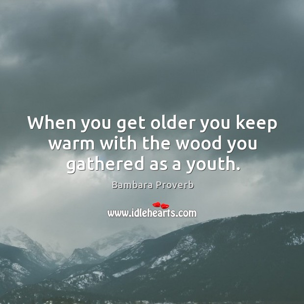 When you get older you keep warm with the wood you gathered as a youth. Bambara Proverbs Image