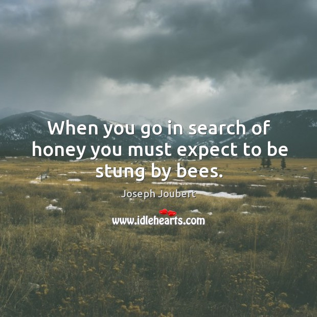 Image, When you go in search of honey you must expect to be stung by bees.