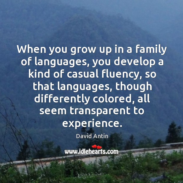 When you grow up in a family of languages, you develop a kind of casual fluency, so that languages Image