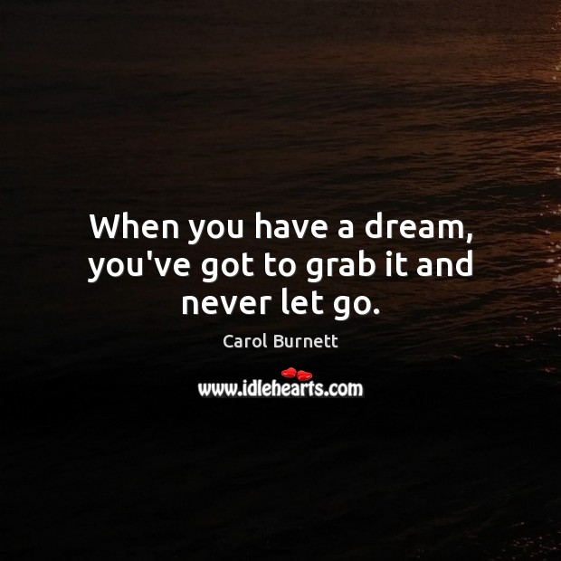 When you have a dream, you've got to grab it and never let go. Image
