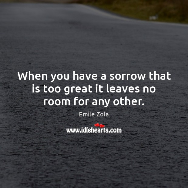 When you have a sorrow that is too great it leaves no room for any other. Image
