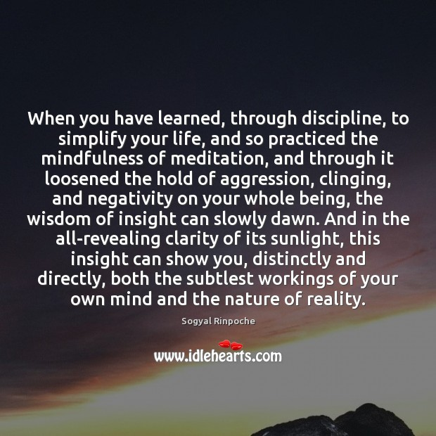 When you have learned, through discipline, to simplify your life, and so Sogyal Rinpoche Picture Quote