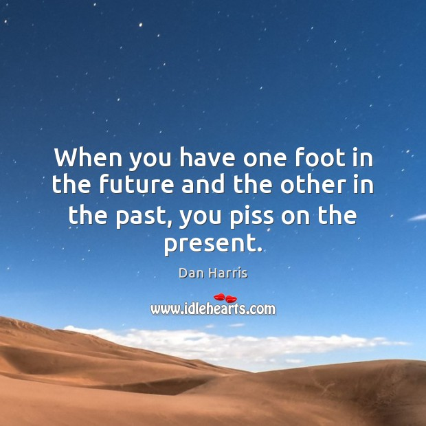 When you have one foot in the future and the other in the past, you piss on the present. Dan Harris Picture Quote