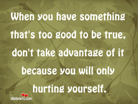 When you have something that's too good to be Too Good To Be True Quotes Image