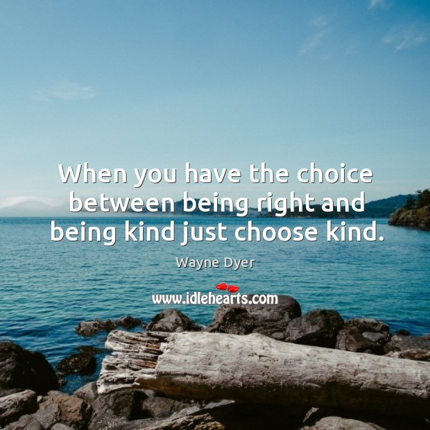 Image, When you have the choice between being right and being kind just choose kind.