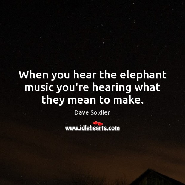 When you hear the elephant music you're hearing what they mean to make. Image