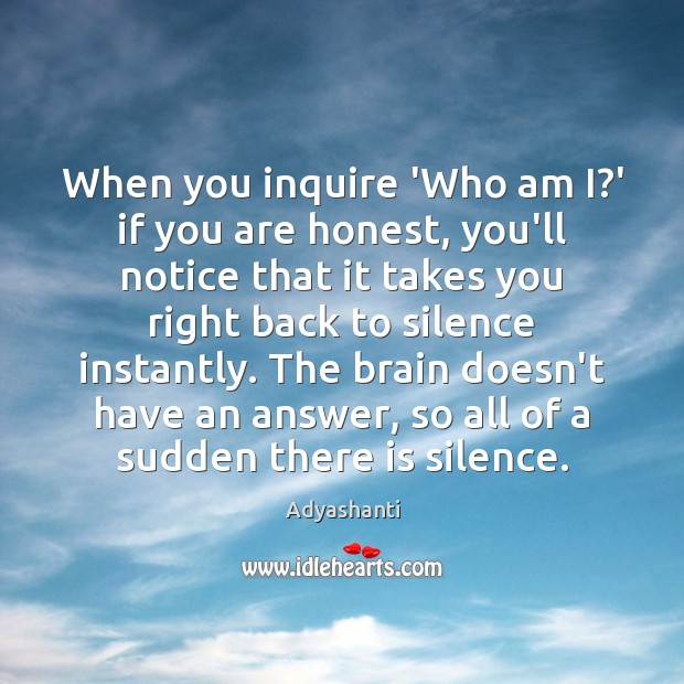 Image, When you inquire 'Who am I?' if you are honest, you'll