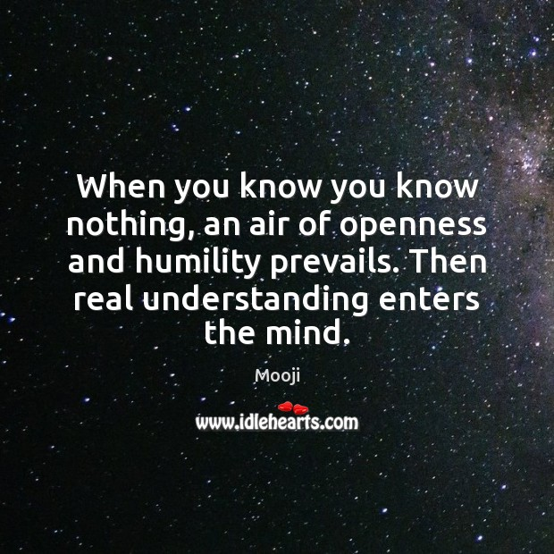When you know you know nothing, an air of openness and humility Mooji Picture Quote