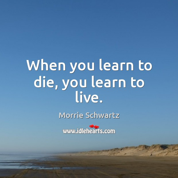 When you learn to die, you learn to live. Morrie Schwartz Picture Quote