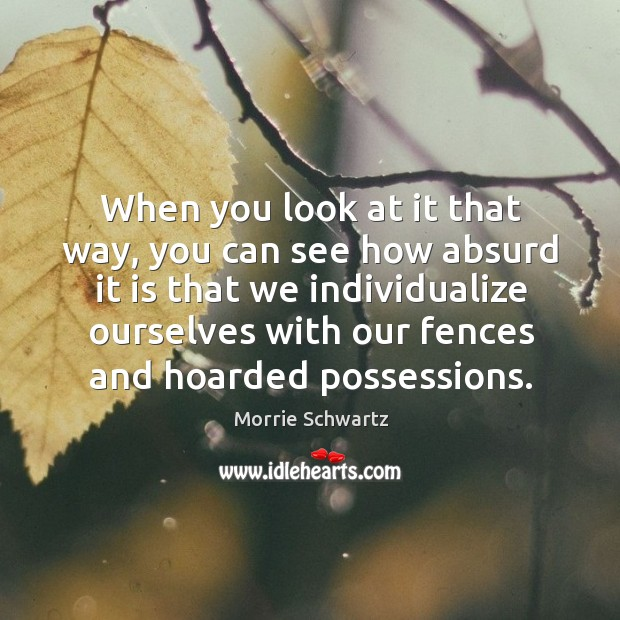 When you look at it that way, you can see how absurd it is that we individualize Morrie Schwartz Picture Quote