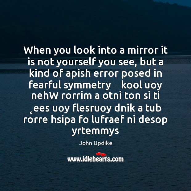 When you look into a mirror it is not yourself you see, John Updike Picture Quote
