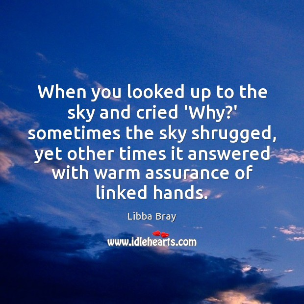 When you looked up to the sky and cried 'Why?' sometimes Libba Bray Picture Quote