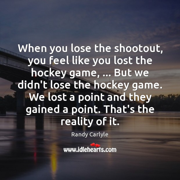 When you lose the shootout, you feel like you lost the hockey Image
